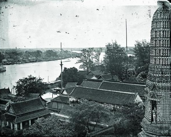 The Chao Phraya River as seen from the main spire of Wat Arun; photo by John Thomson in 1865, Wellcome Library London