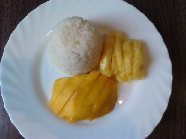 Homemade sweet sticky rice with mango & pineapple (photo taken by myself)